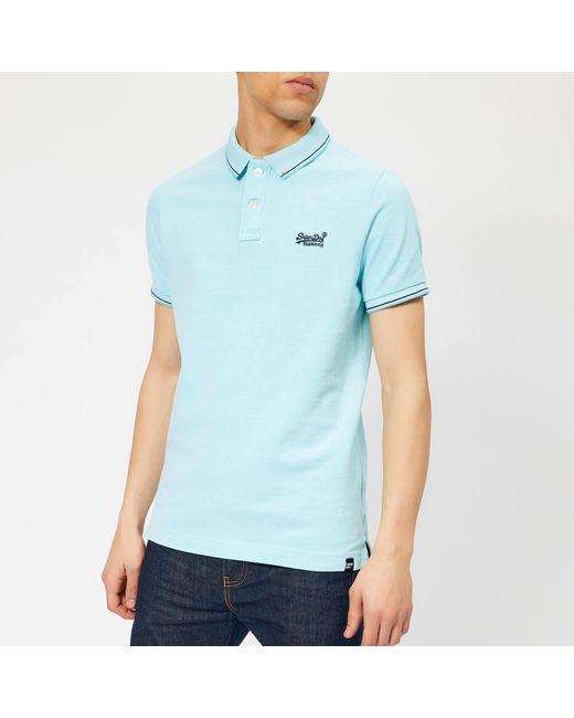Superdry Blue Poolside Polo Shirt for men