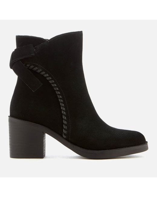 Ugg - Black Fraise Whipstitch Suede Heeled Ankle Boots - Lyst