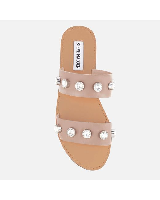 bbe204e9b456 ... Steve Madden - Natural Jessy Leather Double Strap Sandals - Lyst ...