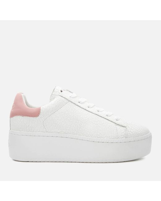 b5cf63601ab8 Ash - White Cult Cracked Leather Flatform Trainers - Lyst ...