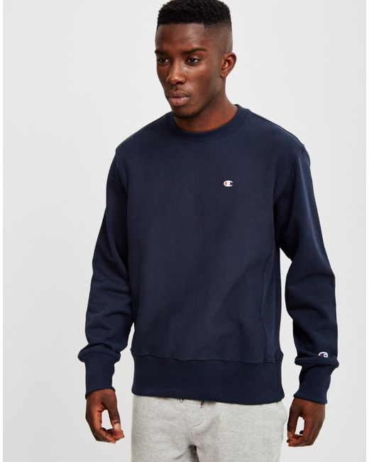 Champion | Blue Reverse Weave Crew Neck Sweatshirt Navy for Men | Lyst
