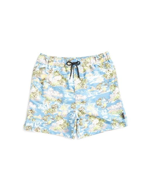 The Idle Man - Island Print Swim Shorts Blue for Men - Lyst