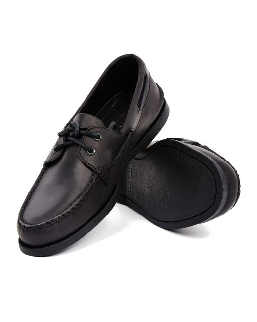 Sperry Top Sider All Black Leather Boat Shoe In Multicolor
