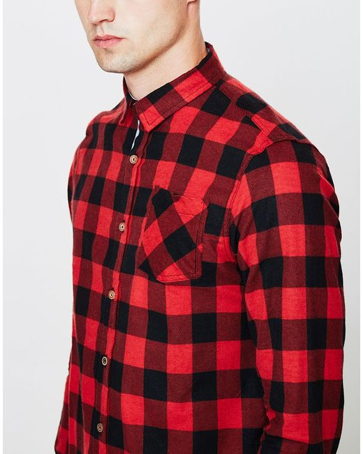The Idle Man   Gray Heavily Brushed Check Shirt Red for Men   Lyst