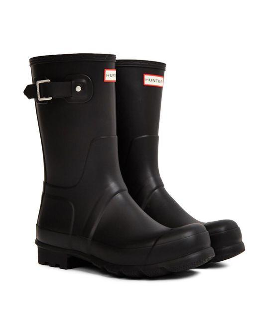 Hunter - Original Short Rain Boot Black for Men - Lyst
