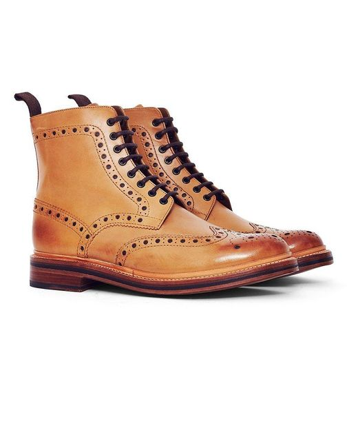 236a88b9547 GRENSON - Multicolor Fred Leather Brogue Boot Tan for Men - Lyst ...