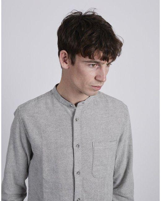 1a212e583c20 The Idle Man - Gray Long Sleeve Mandarin Shirt Green for Men - Lyst ...