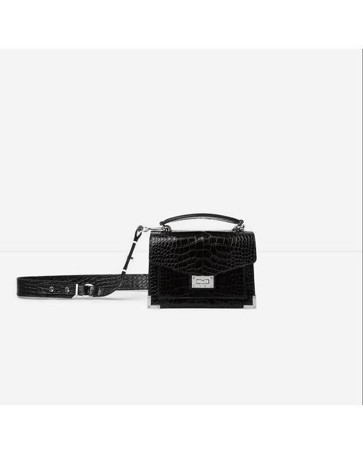 The Kooples Black Emily Mini Crocodile Handbag