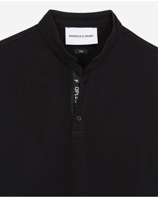 The Kooples Zwarte Polo Met Officierskraag En Logo in het Black voor heren