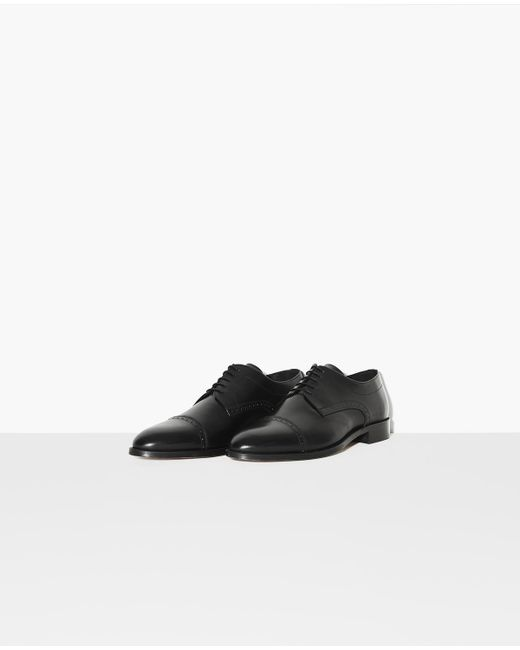 The Kooples Black Classic Brogues In Matte Leather for men