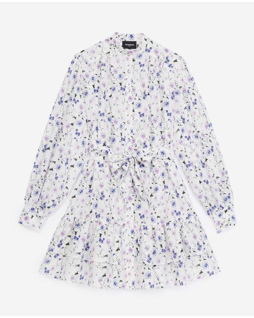 The Kooples Blue Kurzes Kleid bedruckt lange Ärmel