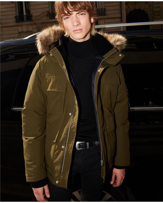 The Kooples Green Cropped Khaki Parka With Detachable Hood for men