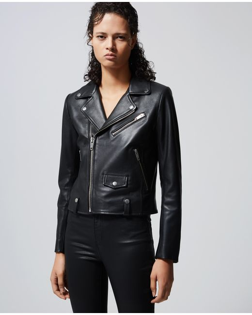 The Kooples Multicolor LEATER JACKET PERMANENT BASE