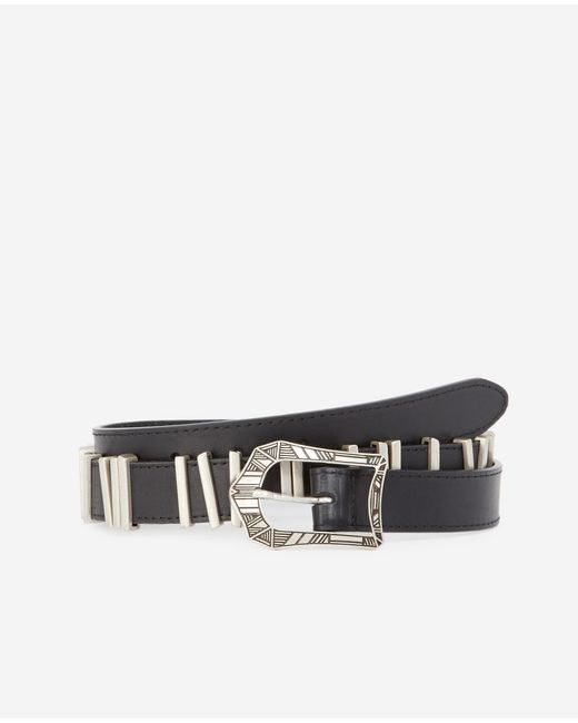 The Kooples Multicolor Black Leather Belt With Western Buckle for men