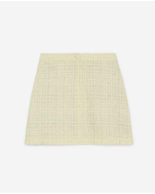The Kooples Korte Gele Rok Van Tweed Met Glittereffect in het Natural