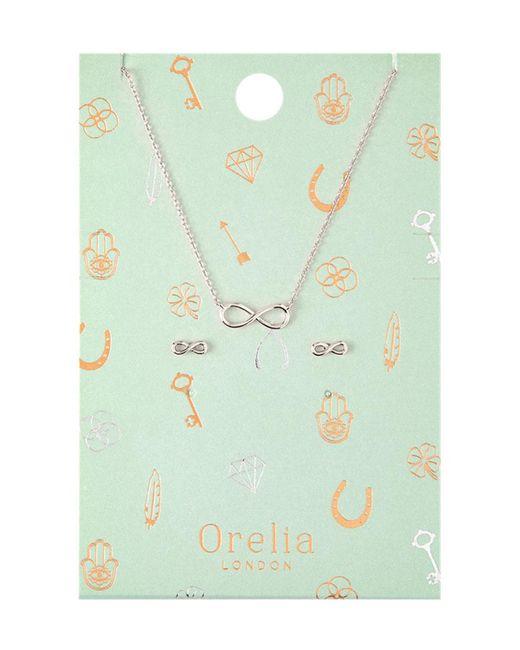 Orelia - Metallic Infinity Earring Necklace - Lyst