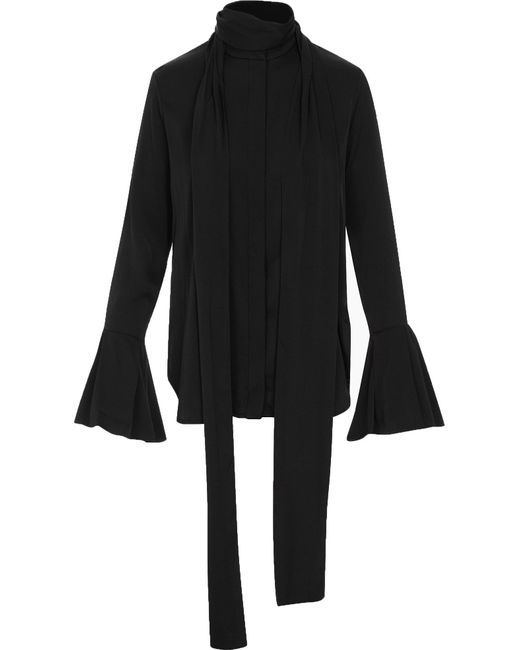 Ellery | Black Lucky Pussy Bow Ruffle Sleeves Blouse | Lyst