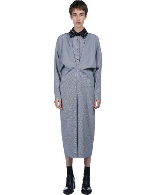 J.W.Anderson | Black Studded Collar Gathered Shirt Dress | Lyst