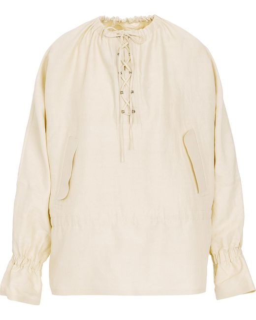J.W. Anderson | Natural Oversized Blouse W/front Lacing | Lyst