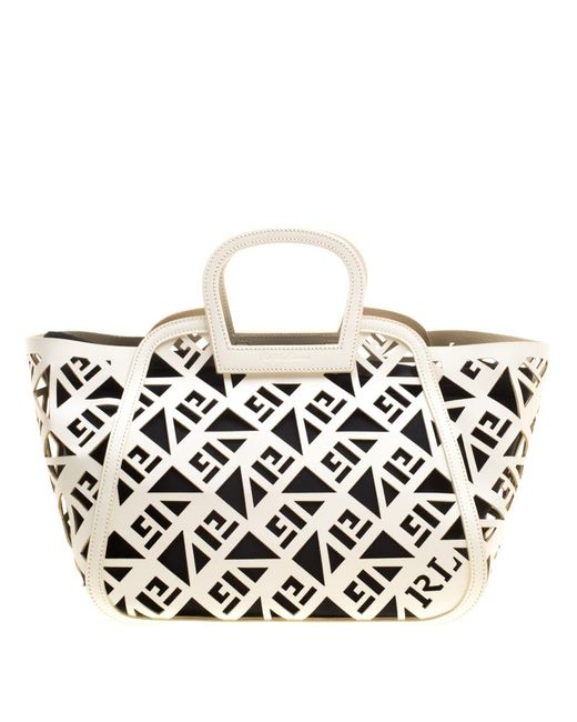 Ralph Lauren Off White Greek Print Leather Top Handle Bag