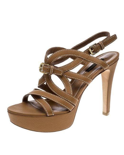 d09a228f28b46 Louis Vuitton - Brown Leather Platform Stappy Sandals - Lyst ...