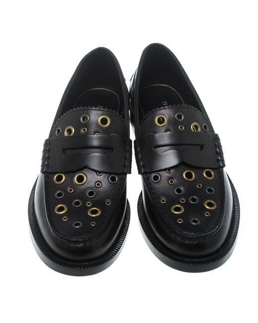 7026d0eeadd ... Burberry - Black Leather Bedmont Eyelet Detail Penny Loafers - Lyst ...