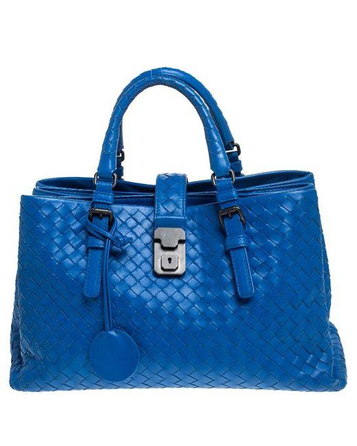 Bottega Veneta Blue Intrecciato Nappa Leather Roma Tote