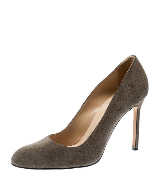 a051868bb73f Manolo Blahnik - Gray Grey Suede Bbr Pumps Size 38.5 - Lyst ...