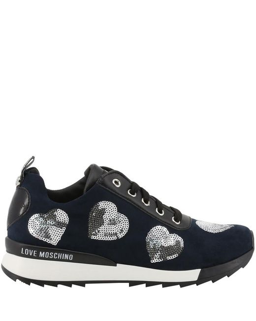Moschino Black Love Tricolor Faux Leather And Fabric Lace Up Sneakers Size 38