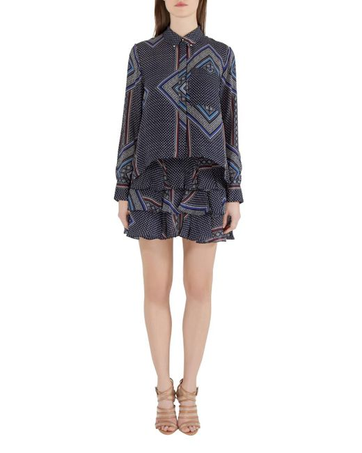 Derek Lam 10 Crosby Blue Printed Silk Tiered Dress And Blouse Set