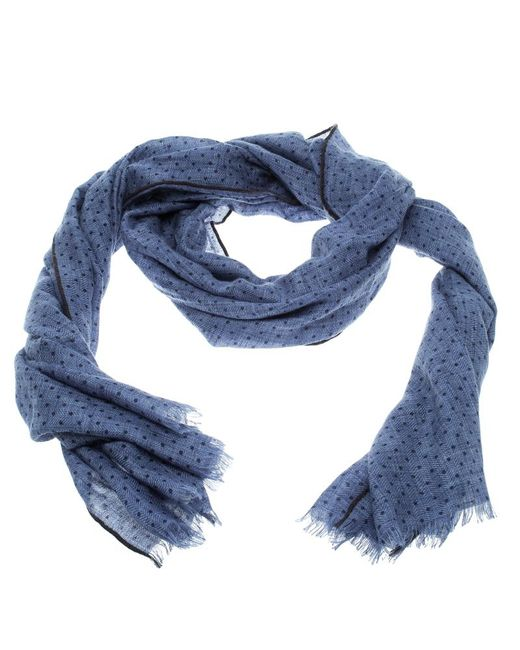 Loro Piana - Blue Cashmere Silk Herringbone Pattern Dotted Scarf for Men - Lyst