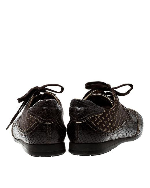 5d9902f9432 Women's Brown Monogram Fabric And Embossed Python Leather Trim Low Top  Sneakers Size 40