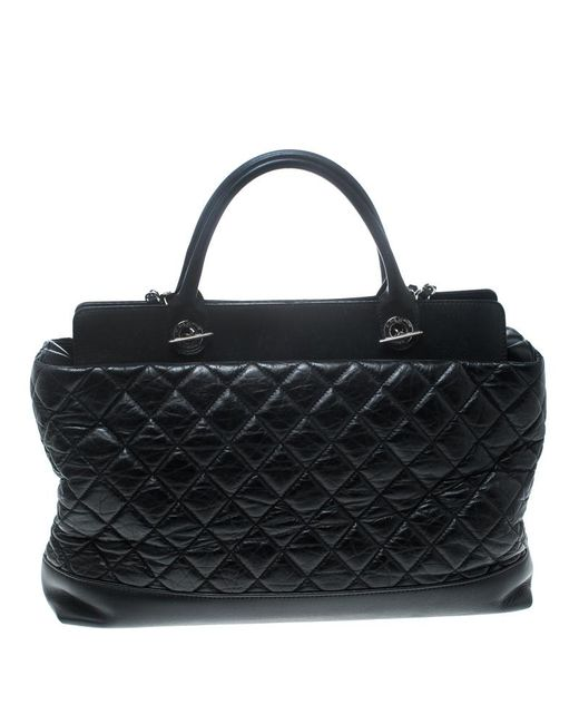 ... Chanel - Pre-owned Grand Shopping Black Leather Handbags - Lyst ... d1dc01700edec
