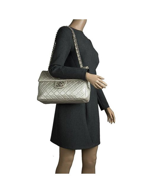 bd32bb82bc8f ... Chanel - Gray Grey Quilted Iridescent Leather Maxi Classic Single Flap  Bag - Lyst ...