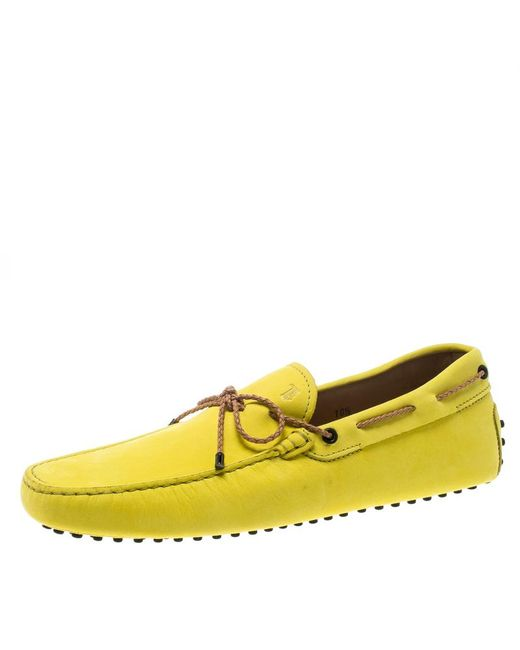 Tod's - Yellow Suede With Contrast Braided Bow Loafers Size 44 for Men - Lyst
