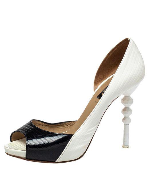 Le Silla Black/white Patent Leather D'orsay Peep Toe Pumps