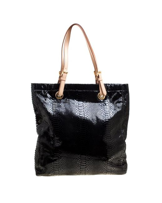 8bf07f623651 ... MICHAEL Michael Kors - Black Python Embossed Leather Tote - Lyst ...