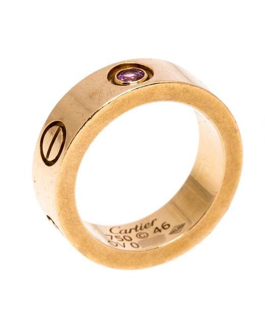 Cartier Metallic Love Pink Sapphire 18k Rose Gold Band Ring Size 46