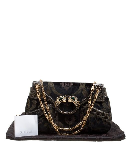 a2757d1b2ec ... Gucci - Black Printed Velvet And Alligator Trim Limited Edition Tom  Ford Dragon Shoulder Bag ...