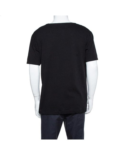 Gucci Black Cotton Washed Out Effect Logo Printed Crewneck T Shirt for men