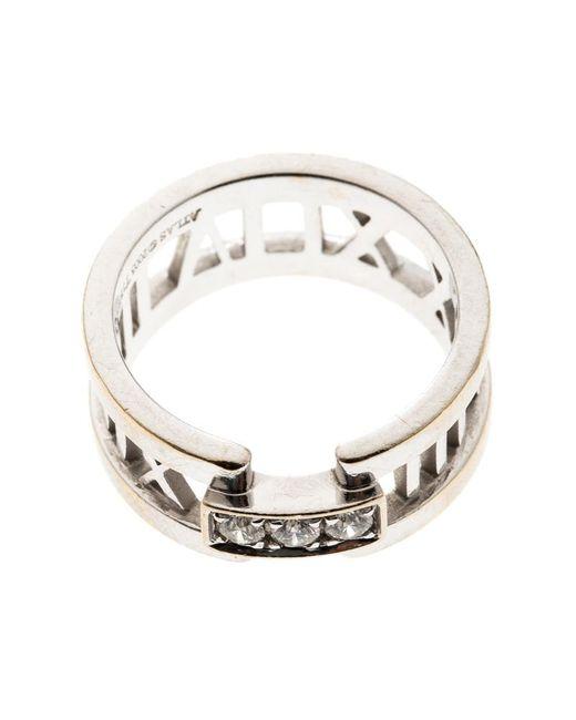 fa60f6ccf ... Tiffany & Co - Metallic Atlas Diamonds 18k White Gold Open Band Ring  Size 54 ...