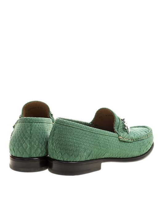 979d3fe17373d Ferragamo Green Python Leather Mason Loafers Size 41 in Green for ...