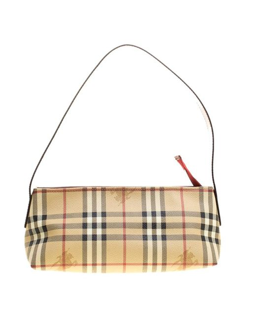 Burberry - Natural /red Haymarket Check Coated Canvas Shoulder Bag - Lyst