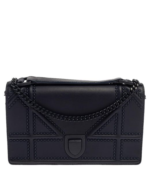 Dior Navy Blue Ultra Matte Leather Studded Ama Wallet On Chain