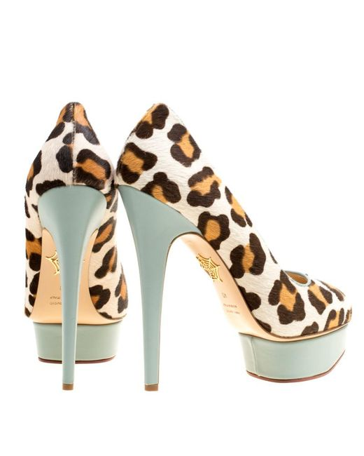 0cf5915d7364 ... Charlotte Olympia - Natural Beige Leopard Print Calf Hair Polly  Platform Pumps Size 40 - Lyst ...