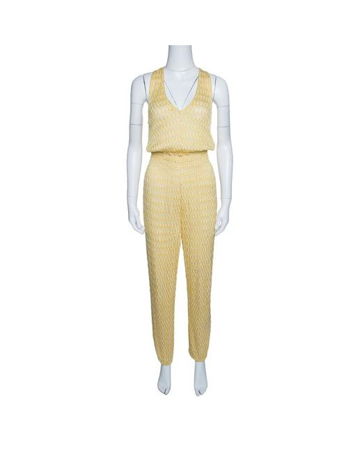 Missoni - Yellow Mare Perforated Knit Smocked Waist Sleeveless Jumpsuit S - Lyst