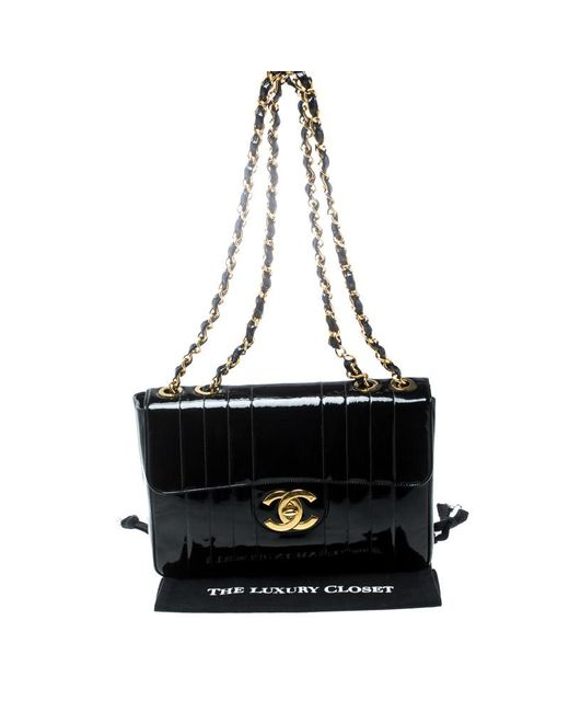 ... Chanel - Black Vertical Quilted Patent Leather Jumbo Vintage Classic  Single Flap Bag - Lyst ... 0324b443dd