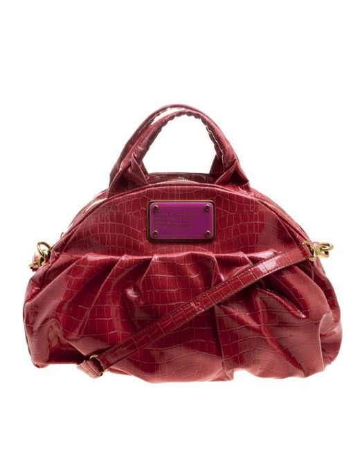 Marc By Marc Jacobs - Red Croc Embossed Patent Leather Satchel - Lyst