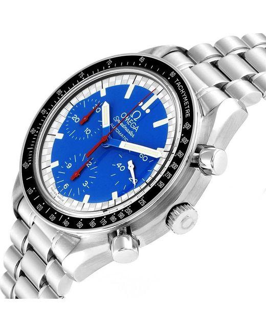 Omega Blue Stainless Steel Speedmaster Schumacher