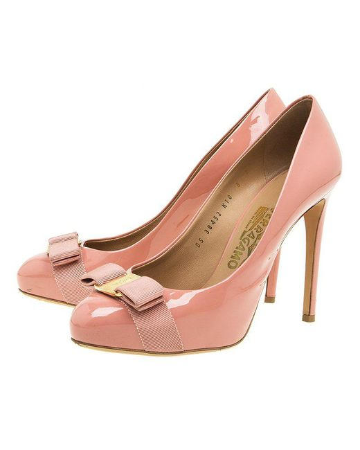 6427a04541e ... Ferragamo - Pink Patent Rilly Pumps - Lyst ...
